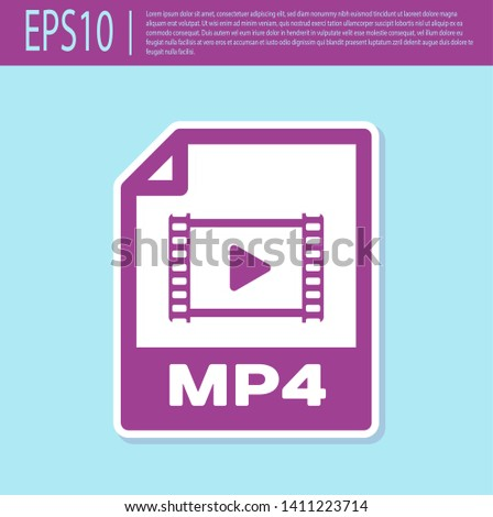 Retro purple MP4 file document icon. Download mp4 button icon isolated on turquoise background. MP4 file symbol. Vector Illustration
