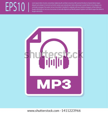 Retro purple MP3 file document icon. Download mp3 button icon isolated on turquoise background. Mp3 music format sign. MP3 file symbol. Vector Illustration