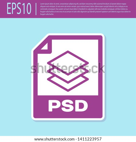 Retro purple PSD file document icon. Download psd button icon isolated on turquoise background. PSD file symbol. Vector Illustration