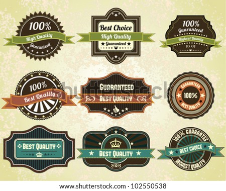 Retro quality labels, vintage design