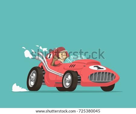 Retro race driver. Vector illustration.