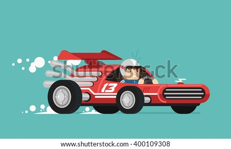 retro race driver vector