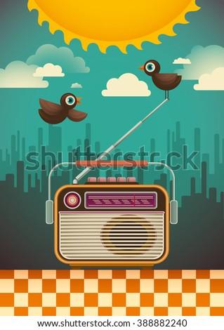 retro radio and comic birds