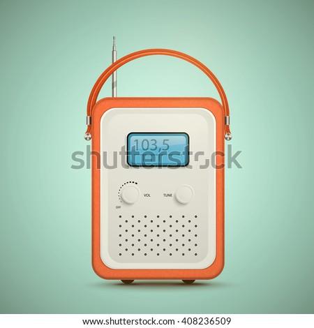 Retro radio. Old radio. Realistic illustration of vintage radio receiver. Vector radio isolated. Nostalgia. Isolated radio. Radio translation. Radio antenna. Radio wave.