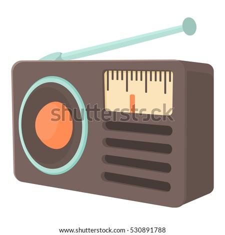 Retro radio receiver icon. Cartoon illustration of retro radio receiver vector icon for web