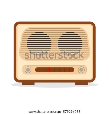 Retro radio, retro radio icon, to listen to the broadcast, broadcasting, communication. Flat design, vector illustration, vector.