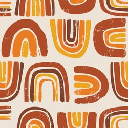 Retro Rainbows Seamless Repeat Artwork - Rust, Orange and Gold - Wallpaper Tile - 70's Style