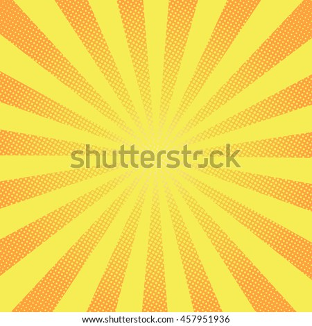 Retro rays comic yellow background raster gradient halftone pop art style