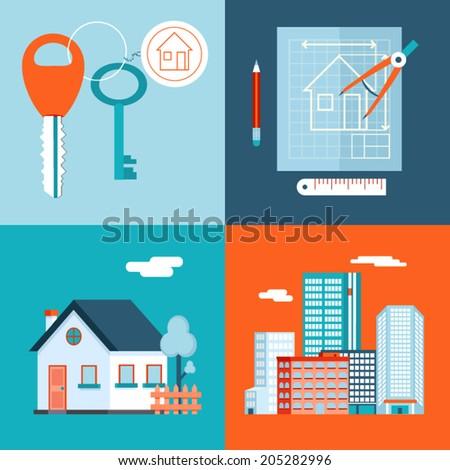 Retro Real Estate Symbols Private House Construction Plan Keys Set City Apartment Icons Trendy Modern Flat Design Template Vector Illustration