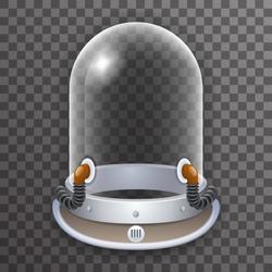 Retro Realistic Helmet 3d Cosmonaut Astronaut Spaceman Scientist Tantamareska Poster Transparent Glass Background Icon Template Mock Up Design Vector Illustration