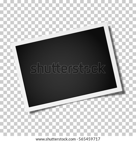 Retro realistic vector photo frame placed horizontally slightly tilted on transparent background. Template photo design.