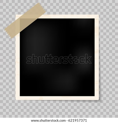 Retro realistic vector photo frame placed on transparent background. Template photo design. Realistic vector photo frame with straight edges on sticky tape placed vertically. Photorealistic Vector.