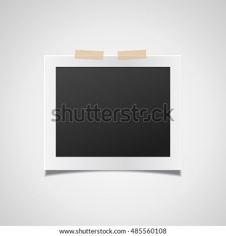 Retro realistic vector photo frame placed on white background. Template photo design.