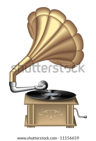 retro record player vector #11156659