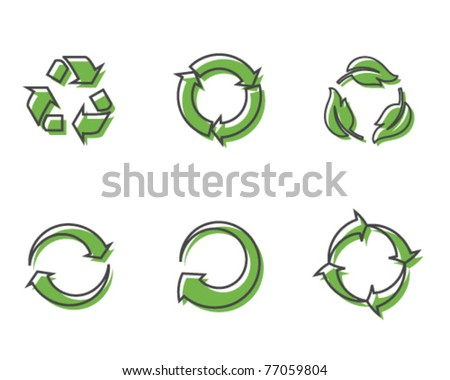 Retro recycling icons - stock vector