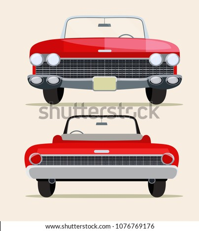 Retro red car vintage isolated. Front and rear view. Vector flat style illustration