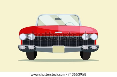 retro red car vintage isolated
