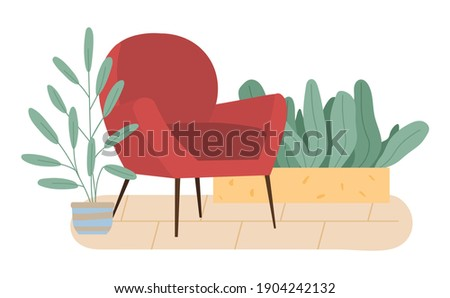 retro red colored armchair and