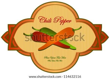 retro red, orange, green pepper label