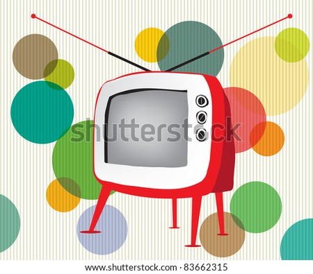 Retro red TV - stock vector