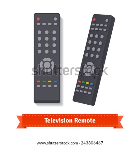 Retro remote control at different angles. Flat style illustration.