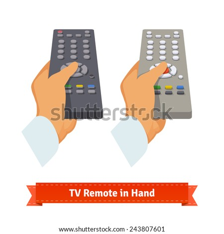 Retro remote control in hand. Flat style illustration.