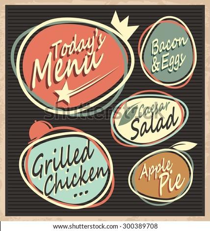 Retro restaurant menu template. Vintage food offer chalk board design with unique labels.  Stock photo ©
