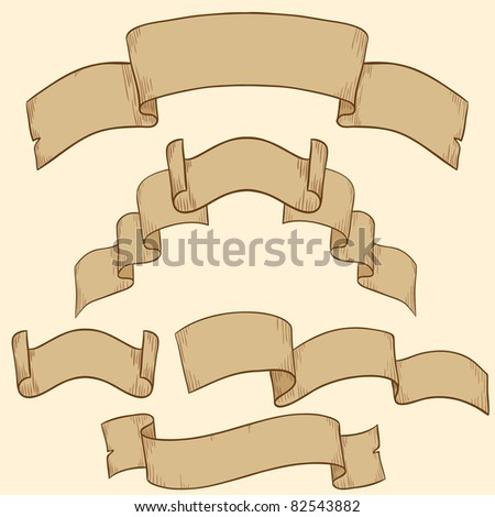 Retro ribbon banner set design element. Vector illustration. - stock vector