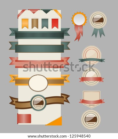 Retro ribbons and labels. Vector illustration.