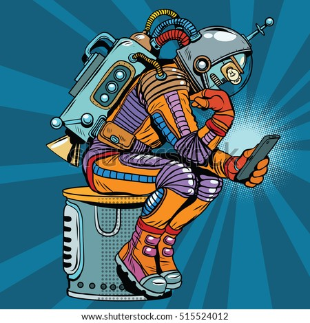 retro robot astronaut in the