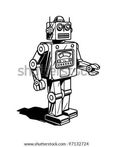 Retro Robot Clipart Illustration