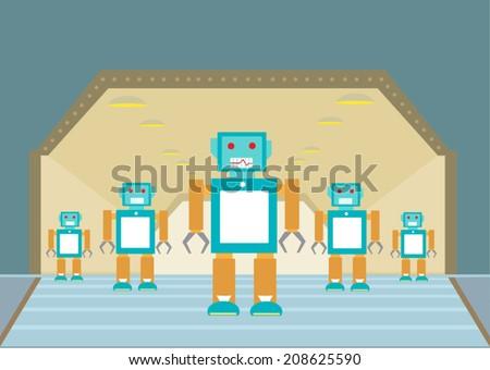 retro robot invasion vector