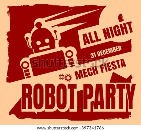 retro robot party poster mech
