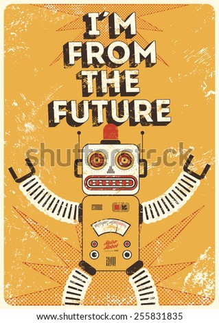 retro robot vintage poster in