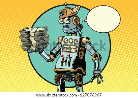 retro robot with a bundle of