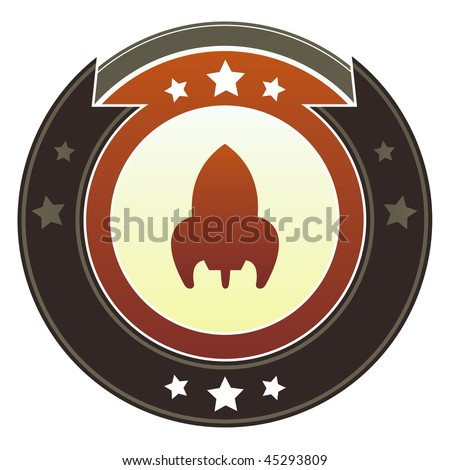 Retro rocket ship icon on round red and brown imperial vector button with star accents