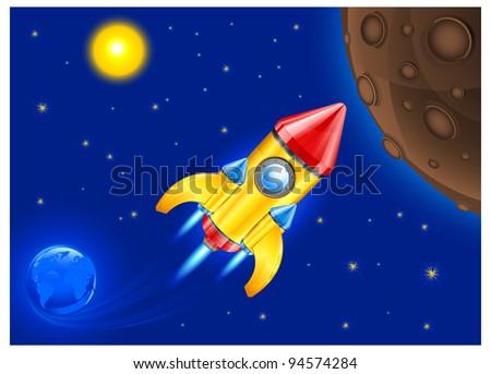 retro rocket ship space vehicle blasting off into sky, vector illustration.
