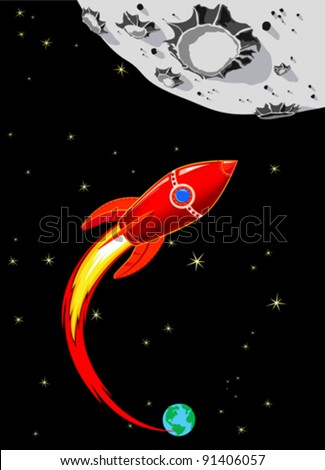 retro rocket spaceship to the