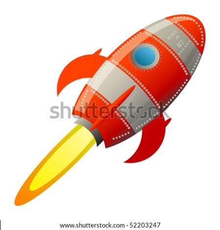 Retro rocket, vector illustration