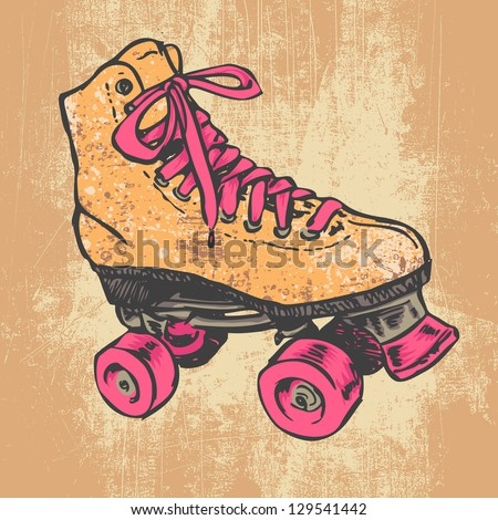 retro roller skate and grunge