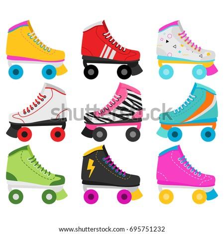 Retro Roller Skates In White Background