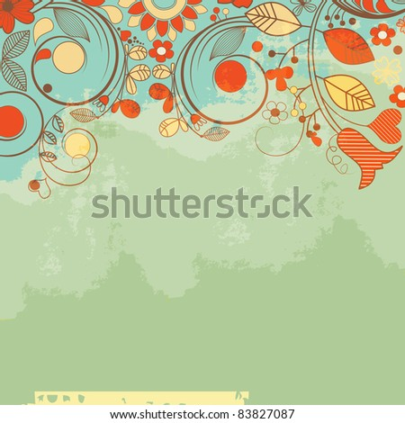 Retro romantic floral background, old paper texture