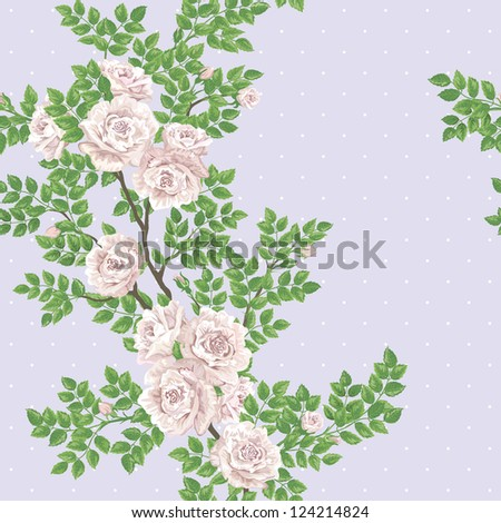 Retro romantic seamless vector pattern with tea-rose branch