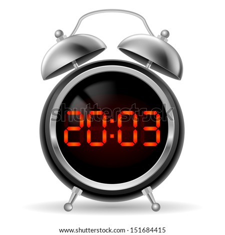 Retro round alarm clock with modern digital face. Orange numbers on black background. Illustration on white.