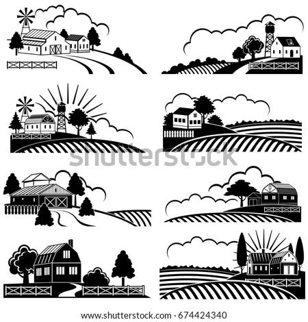 retro rural landscapes with