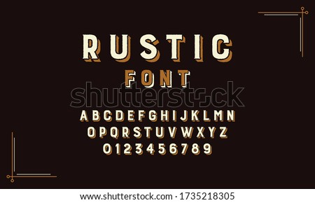 Retro Rustic Alphabet Vector Font. Type letters, numbers and punctuation marks. Distressed rustic vintage design vector font. Type design with a rustic, old west, or circus sign quality. Foto stock ©