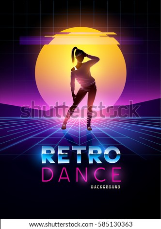 retro 1980's dancing lady with