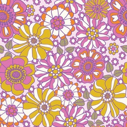 Retro 60s floral. Vector repeat pattern. Great for home decor, wrapping, fashion, scrapbooking, wallpaper, gift, kids, apparel.