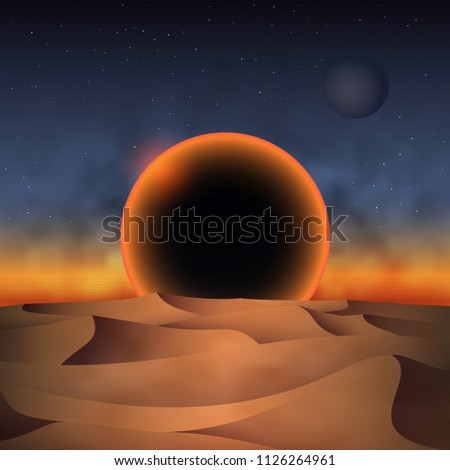 Retro 80s futuristic landscape design. Sunset of a black sun over desert