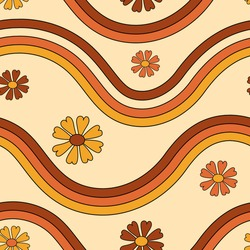 Retro 70s groovy lines and floral pattern background.